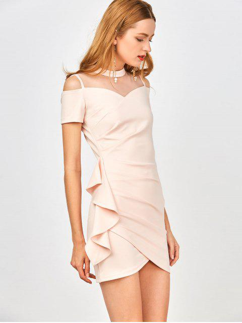 ladies Ruched Mesh Panel Ruffle Dress - SHALLOW PINK L Mobile
