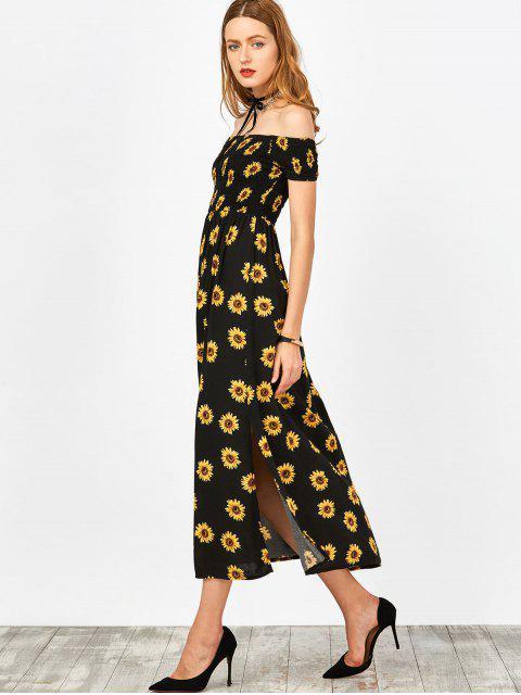 women's Sunflower Print Off Shoulder Smocked Slit Dress - BLACK XL Mobile