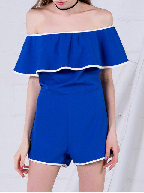 lady Off The Shoulder Ruffles Romper - BLUE S Mobile