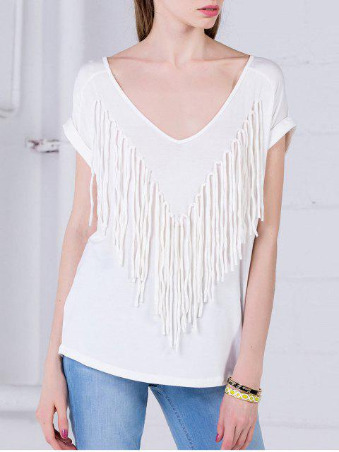 fancy Curled Sleeve Fringed Top - WHITE S Mobile