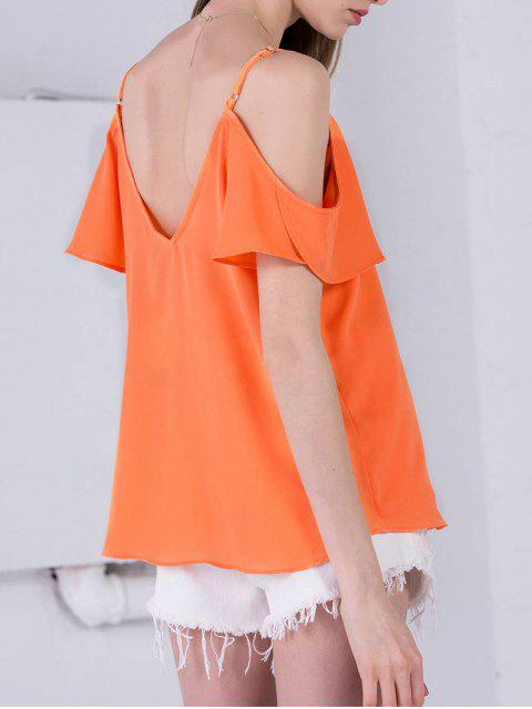 Mousseline de soie épaule froide Haut - Orange Rose S Mobile
