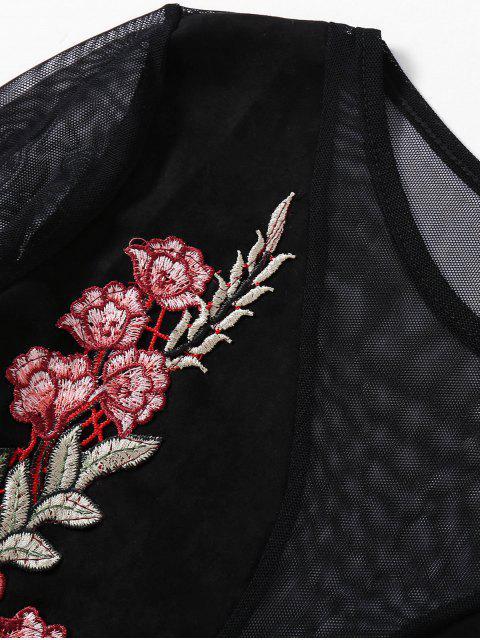 best Sheer Mesh Floral Embroidered Crop Top - BLACK L Mobile