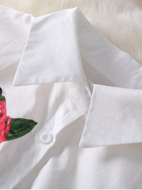 women Button Up Sequins Rose Shirt Dress - WHITE L Mobile