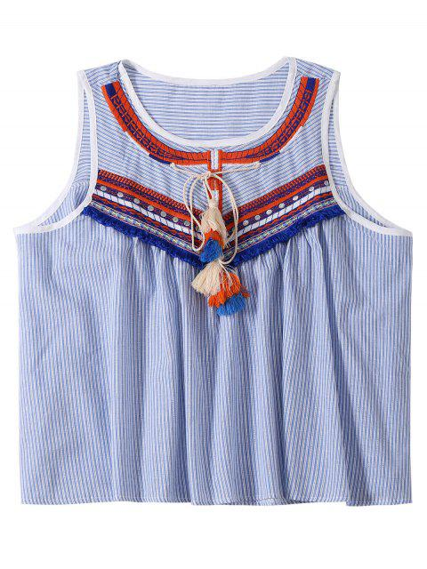 best Embroidered Tassel Stripe Top - LIGHT BLUE ONE SIZE Mobile