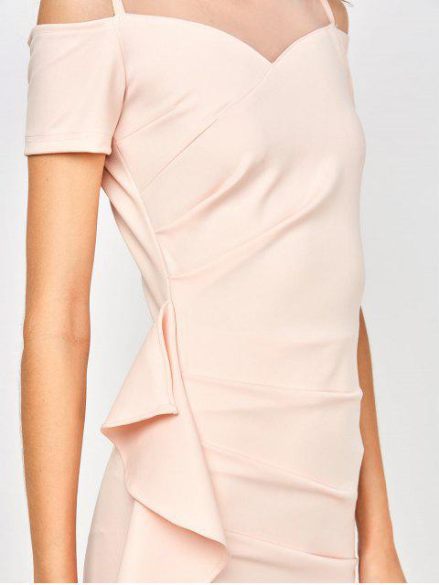 women Ruched Mesh Panel Ruffle Dress - SHALLOW PINK S Mobile