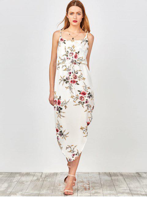 outfits Slip Floral Drawstring Waist Asymmetric Holiday Dress - WHITE L Mobile
