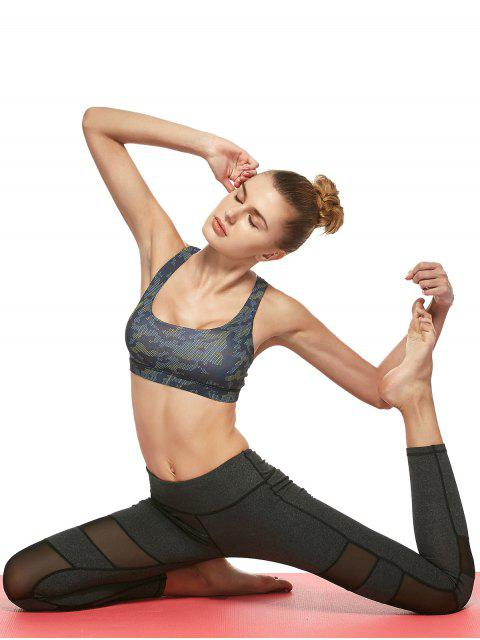 outfits Mesh Camo Print Sports Bra - BLUE CAMOUFLAGE L Mobile