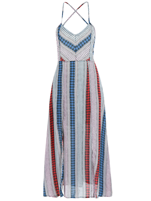 online Geometry Print Slip Lace Up Holiday Dress - COLORMIX M Mobile