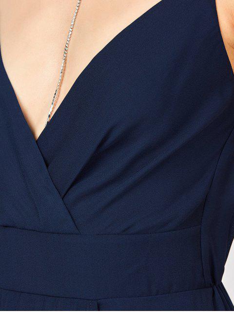 buy Slip High Slit Plunge Neck Summer Dress - PURPLISH BLUE M Mobile