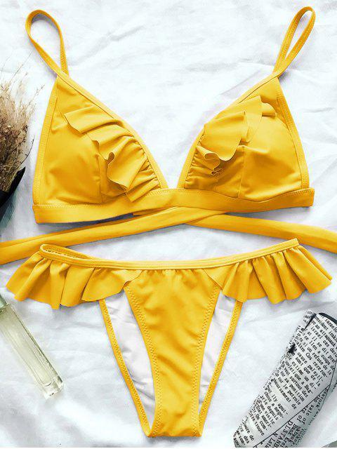 shops Cami Frilly High Leg Bikini - YELLOW L Mobile