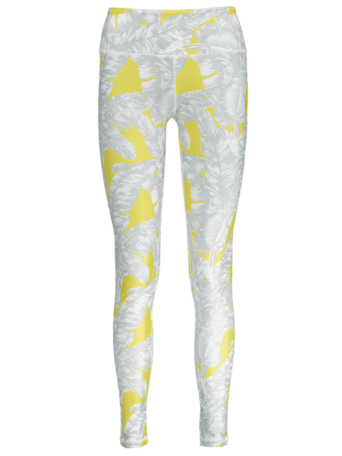 sale Tropical Leaf Print Sports Leggings - GRAY L Mobile