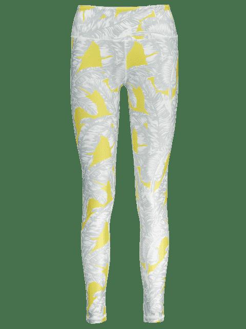 affordable Tropical Leaf Print Sports Leggings - GRAY M Mobile