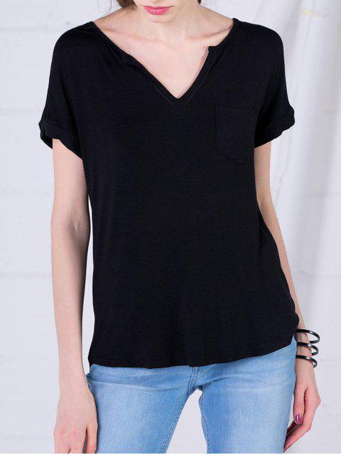 shop High Low Top With Pocket - BLACK M Mobile