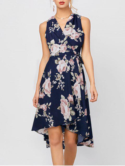 Hoch niedriges ärmelloses Kleid mit Blumen - Dunkelblau XL Mobile