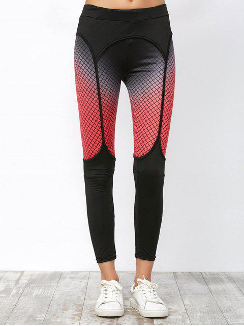 womens Elastic Workout Leggings with Fishnet Print - BLACK S Mobile