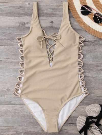 Lace Up Plunging Neck Swimsuit - Complexion M