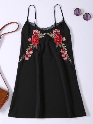 Slip Lace Embroidered Rose Applique Dress - Black Xl