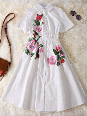 Robe Chemisier Avec Boutons Et Paillettes De Rose  - Blanc S