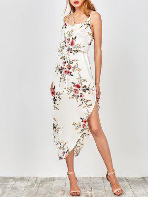 Robe De Vacances Asymétrique Florale à Bretelles Avec Taille à Lacet - Blanc L