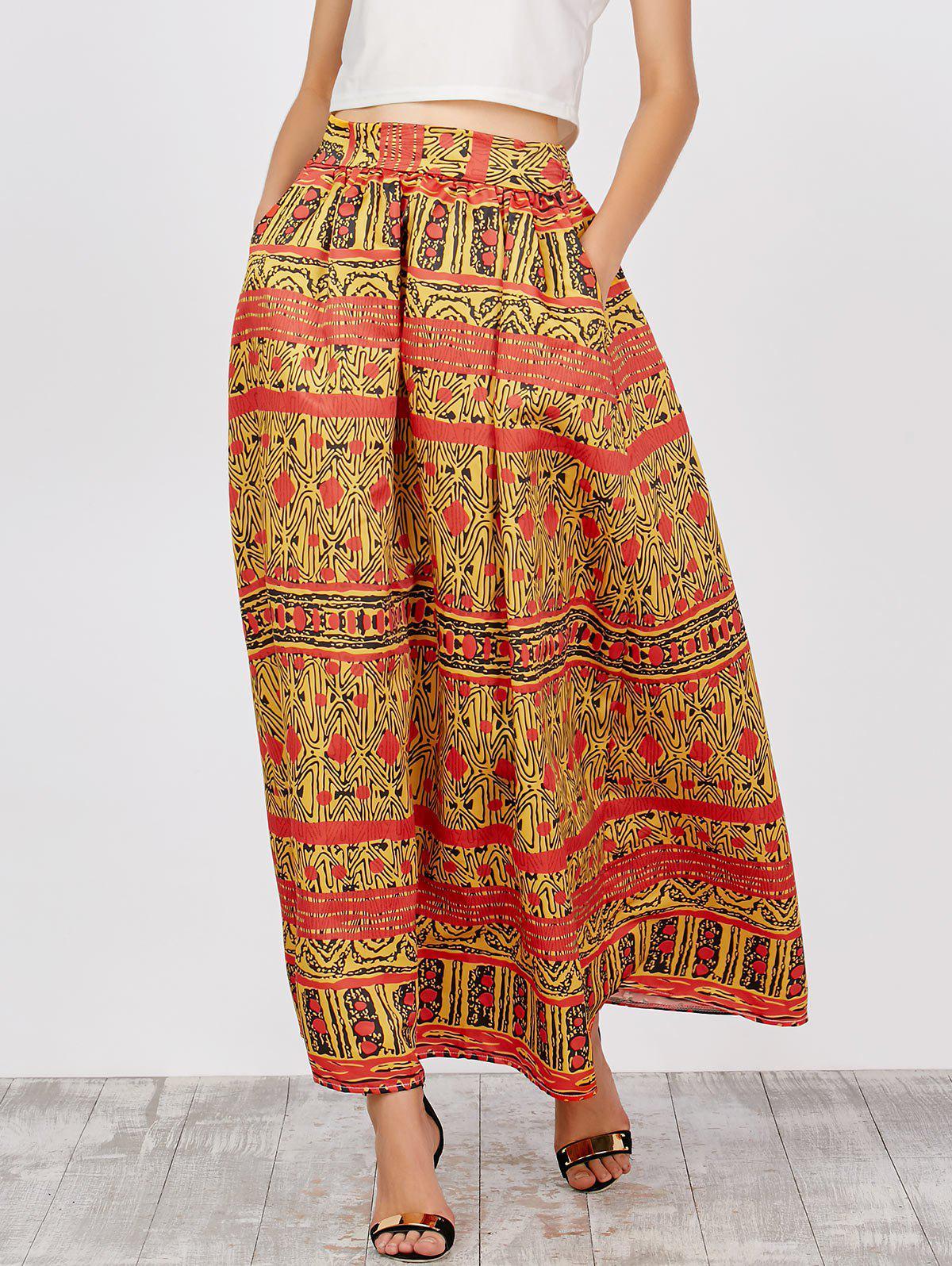 Haute taille imprimé africain maxi jupes