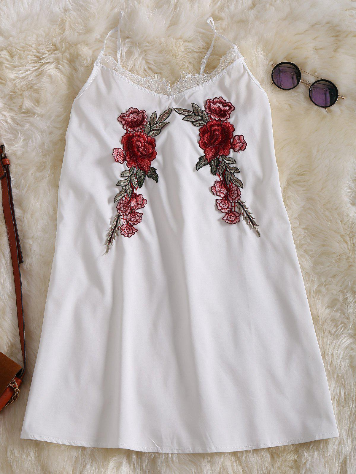 Embroidered Slip Lace Rose Applique Dress