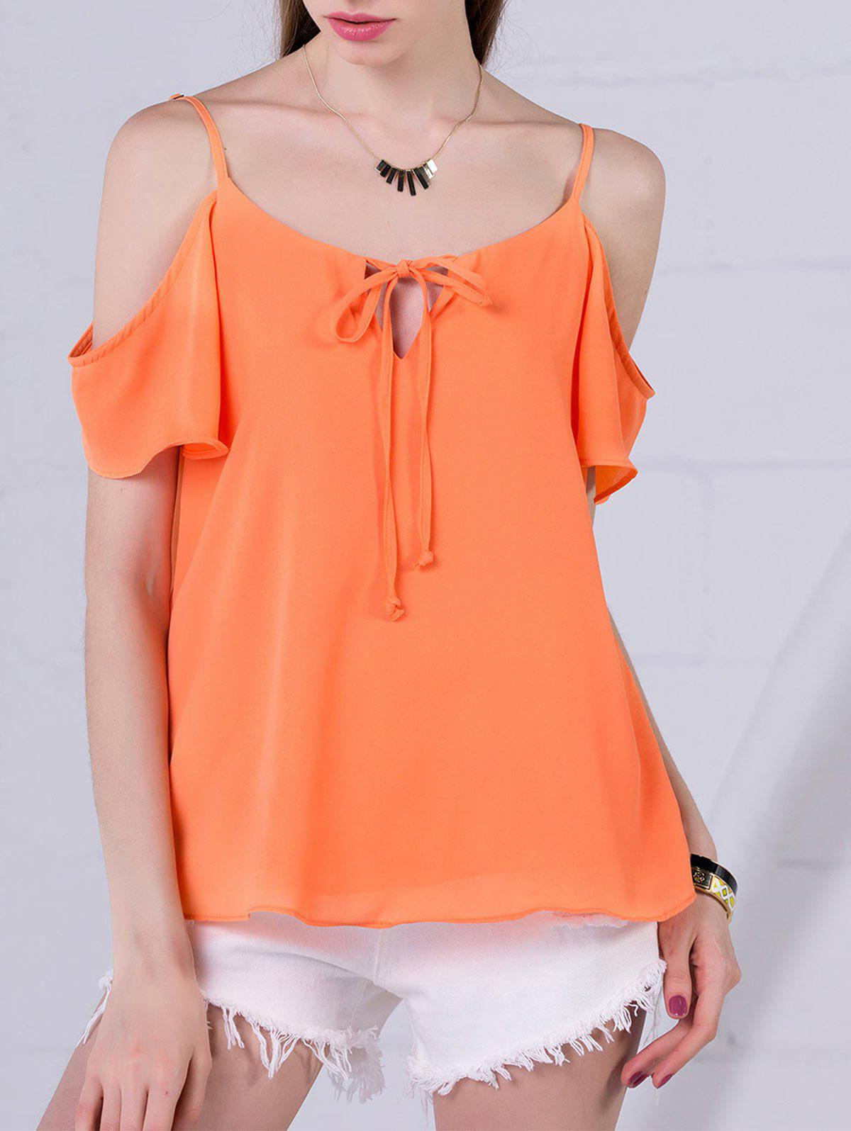Chiffon Cold Shoulder Top 211301903