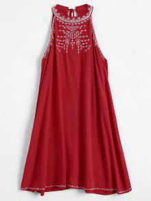 Embroidered Sleeveless Flowing Dress - Red S