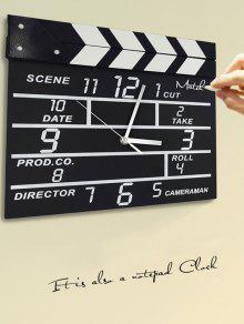 غرفة الجلوس الميكانيكية ساعة الحائط مجموعة الفيلم على مدار الساعة - أسود