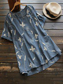 Oversized Floral Embroidered Top - Stone Blue