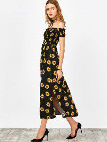 Sunflower Print Off Shoulder Smocked Slit Dress BLACK: Maxi ...