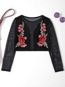 T-shirt En Filt à Manches Longues Et Bordé à Motif Floral - Noir L