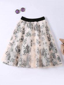 Layered Floral Tulle Skirt - Apricot
