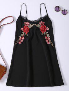 Vestido De Tirantes Con Aplicación De Rosa De Bordado Con Encaje - Negro L