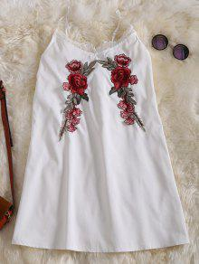Slip Lace Embroidered Rose Applique Dress - White S