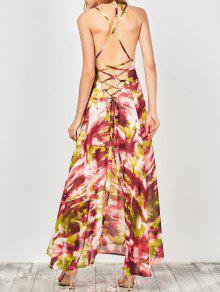 Printed Lace Up Beach Summer Chiffon Dress - L