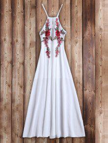 فستان زهري مرقعة ماكسي شاطئ - أبيض L