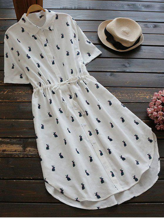 Resultado de imagem para Printed Button Up Drawstring Waist Shirt Dress