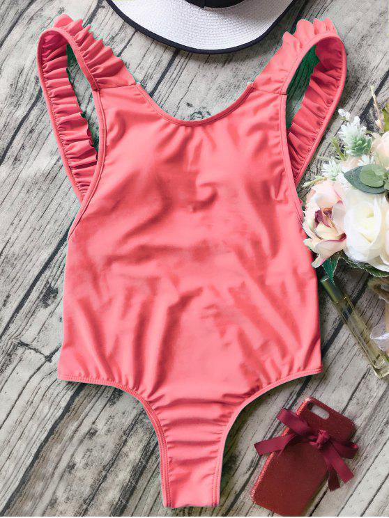 fashion Open Back Ruffle Strap One Piece Swimsuit - ORANGEPINK S