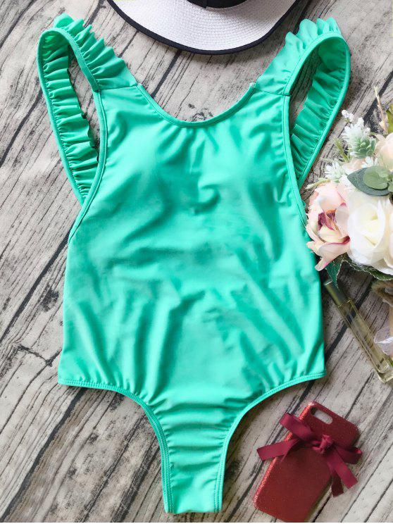 chic Open Back Ruffle Strap One Piece Swimsuit - GREEN L