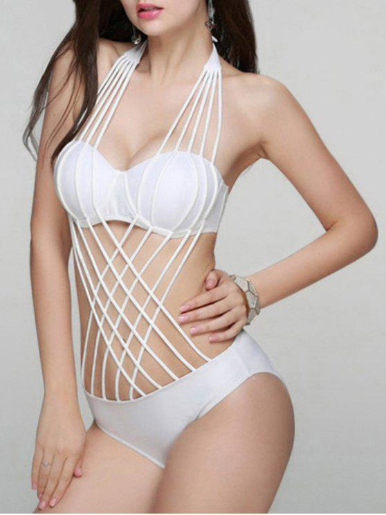 d17c37549b00 31% OFF  2019 Solid Color Lace Up One Piece Swimwear In WHITE