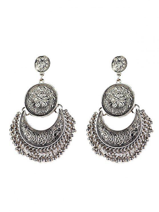 Vintage Ohrringe mit gravierte Blumen, Perlen und Mondform - silber