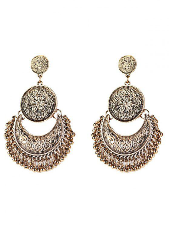 fancy Vintage Engraved Flower Beads Moon Earrings - GOLDEN