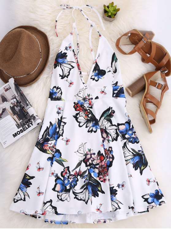 sale Thin Strap Floral Skater Sun Dress - WHITE M