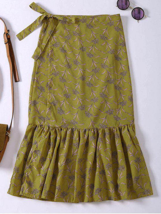 outfits Flower Print Mermaid Wrap Skirt - YELLOW ONE SIZE