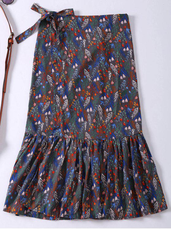 shop Floral Ruffle Hem Slit Wrap Skirt - GRAY ONE SIZE