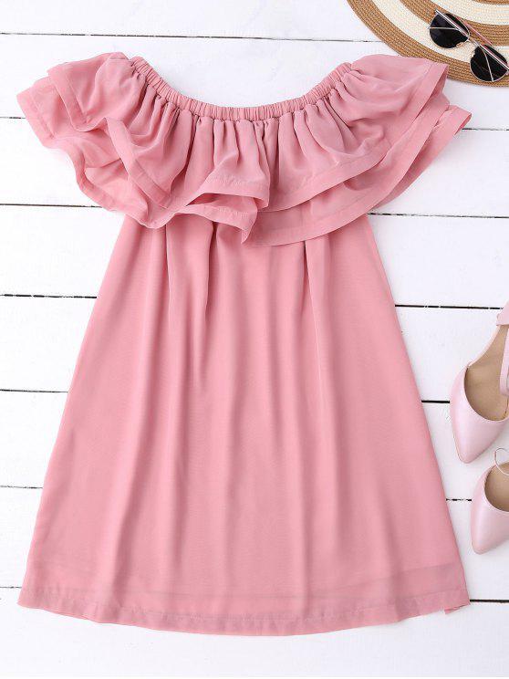 fancy Ruffled Off Shoulder Chiffon Dress - PINK L