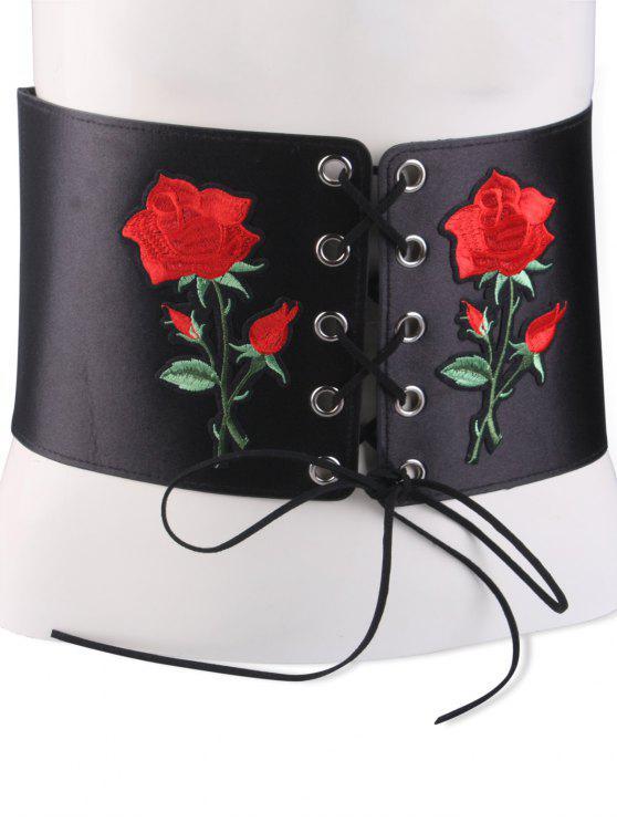 Botón ata para arriba el corsé bordado broche de cinturón - Negro