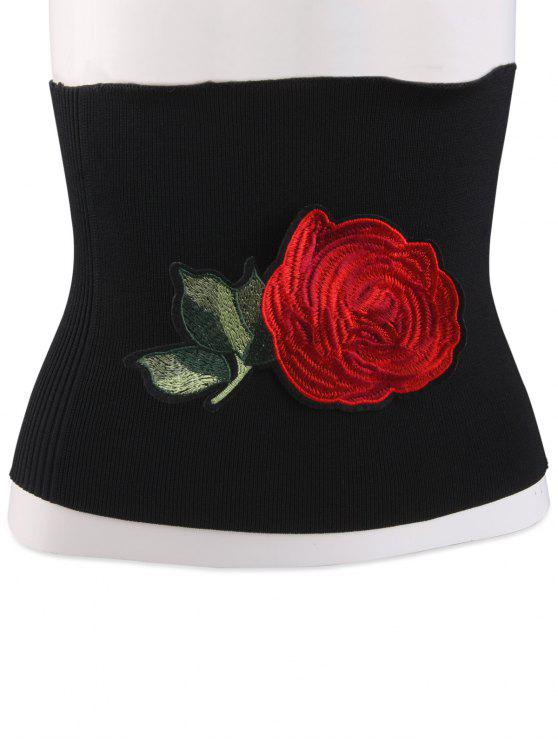 Floral bordado Chinoiserie elástica larga Corset Belt - Preto