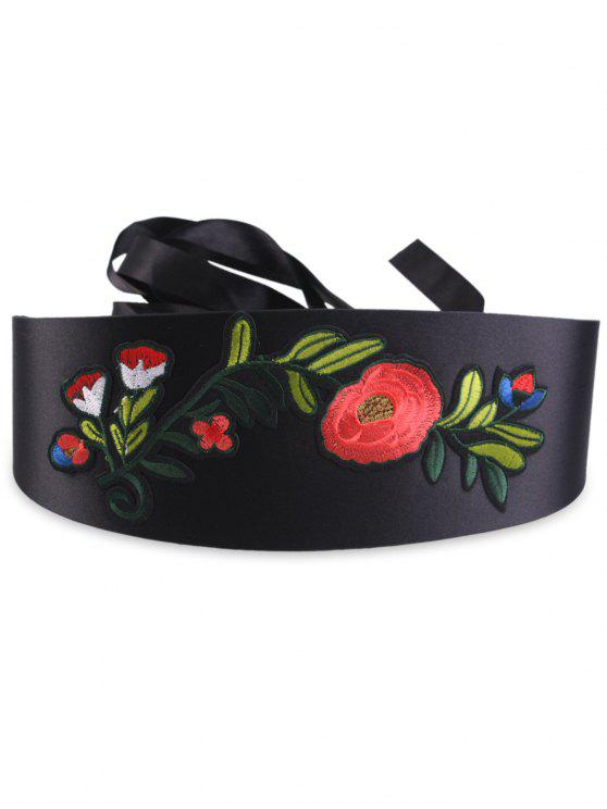 trendy Chinoiserie Flowers Embroidered High Waist Corset Belt - BLACK
