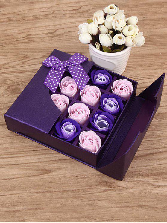 هدية لعيد الأمهات 1 صندوق 16 شبكات وردة صابون اصطناعية - البنفسجي